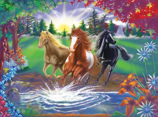 belle-image-de-chevaux-paysage-flora