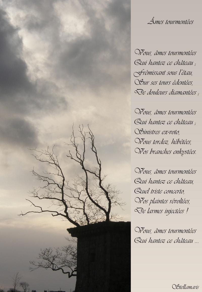 Âmes tourmentées / / Vous, âmes tourmentées / Qui hantez ce château ; / Frémissant sous l'étau, / Sur ses tours édentées, / De douleurs diamantées ; / / Vous, âmes tourmentées / Qui hantez ce château ; / Sinistres ex-voto, / Vous tordez, hébétées, / Vos branches enkystées. / / Vous, âmes tourmentées / Qui hantez ce château, / Quel triste concerto, / Vos plaintes révoltées, / De larmes injectées ! / / Vous, âmes tourmentées / Qui hantez ce château … / / Stellamaris