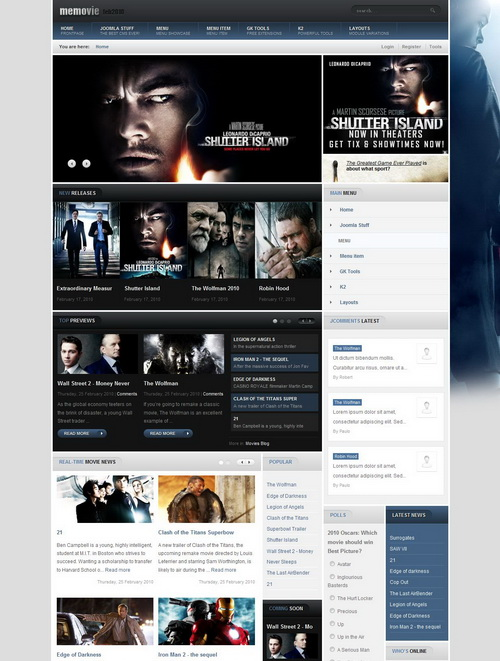 Memovie February 2010 Joomla Template